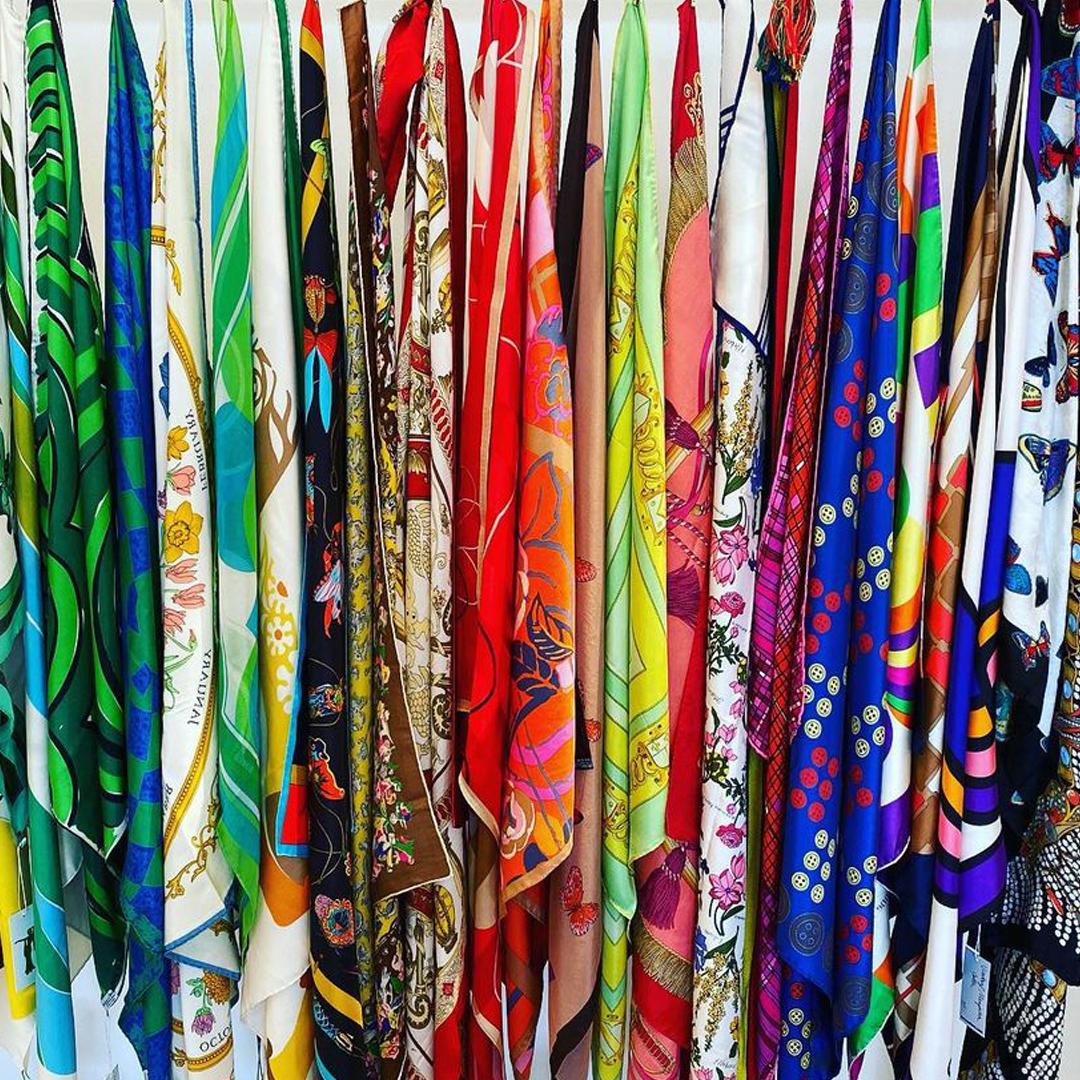 Rosenberg's room of colorful silk scarves