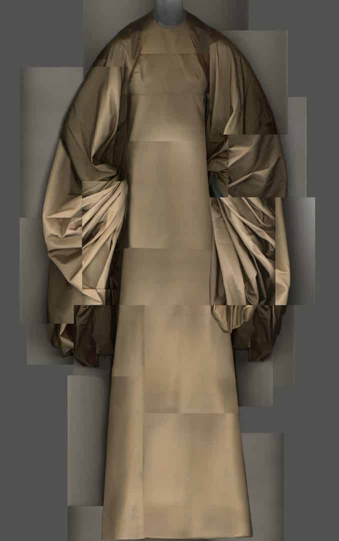 a brown silk Madame Grès dress with voluminous sleeves