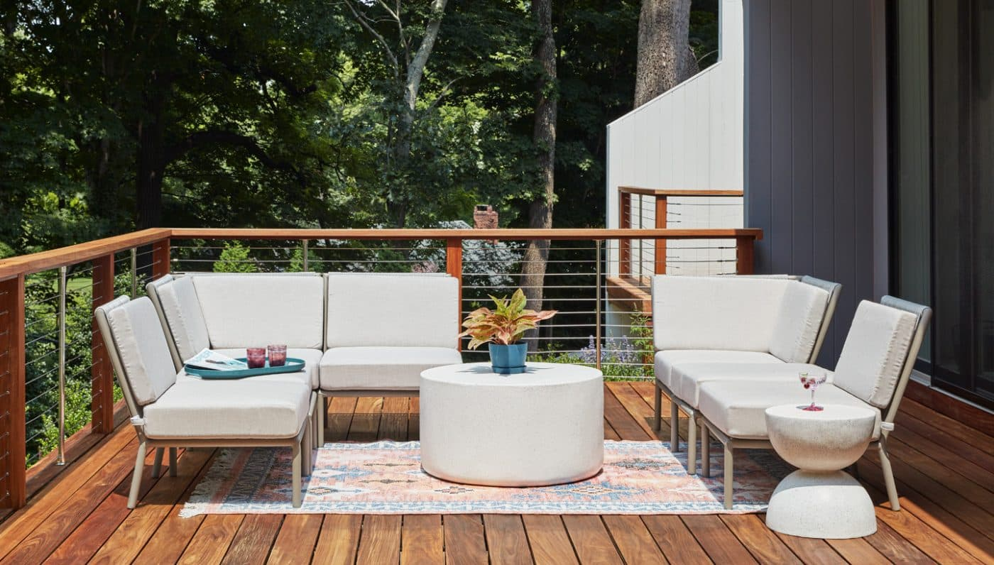 The deck of an Oyster Bay house with decor by Danielle Fennoy of Revamp Interior Design