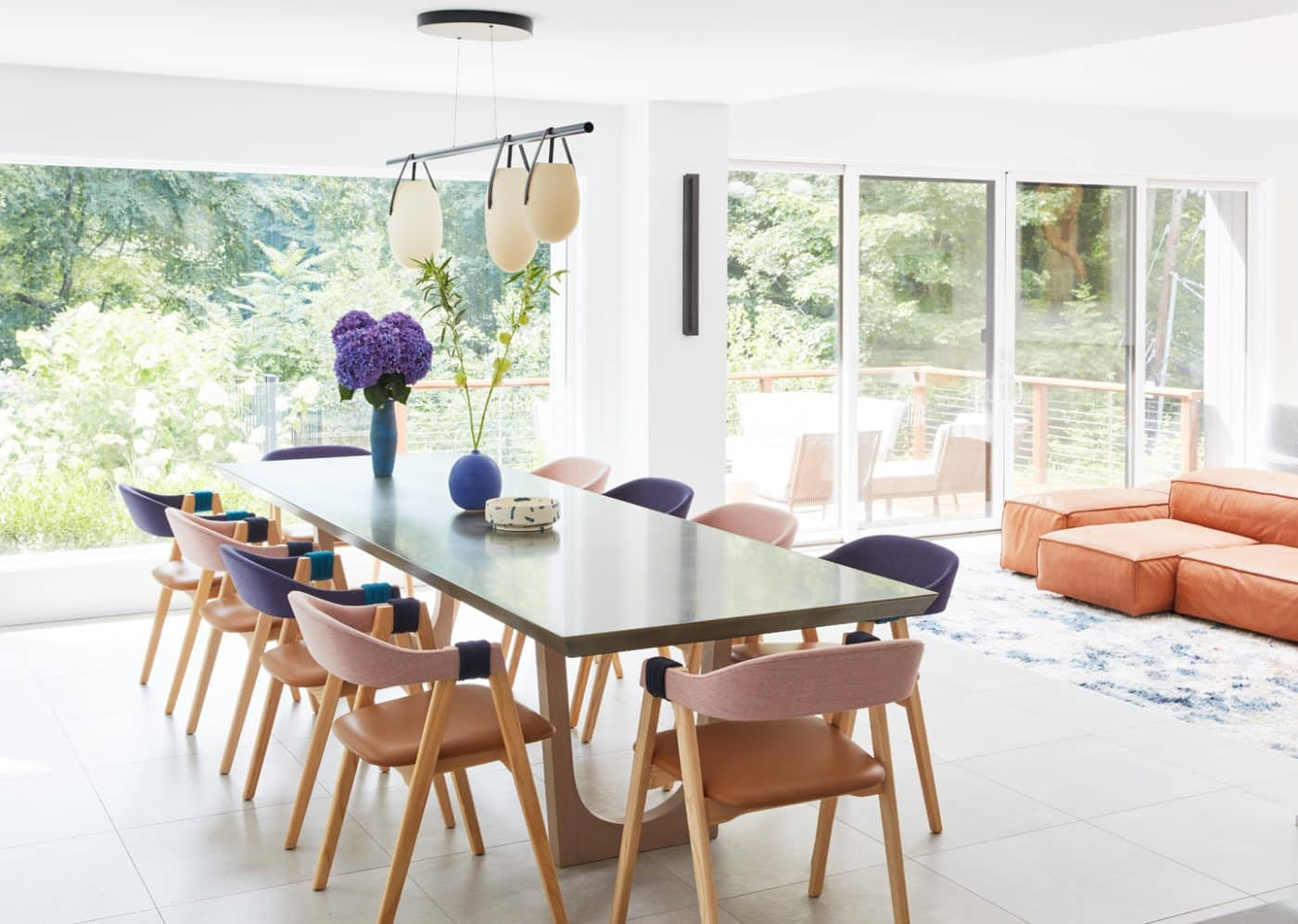 The dining room of an Oyster Bay house with interiors by Danielle Fennoy of Revamp Interior Design