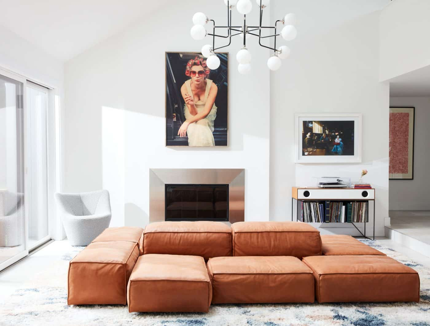 The living room of a house in Oyster Bay, on Long Island, with interiors by Danielle Fennoy of Revamp Interior Design
