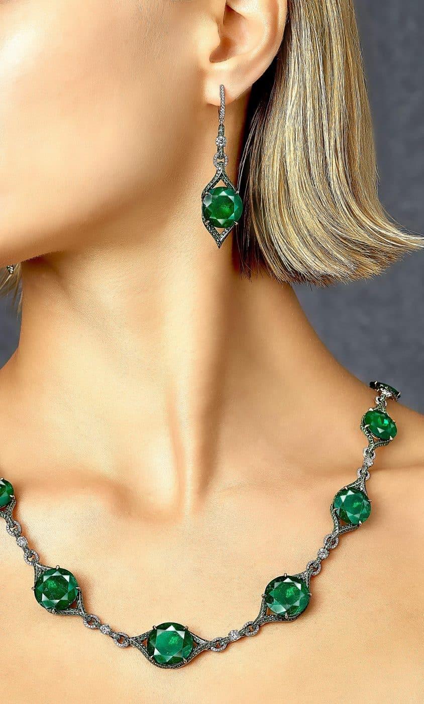 Gubelin Certified 22.54 Carat Colombian Emerald and Green Garnet Earrings