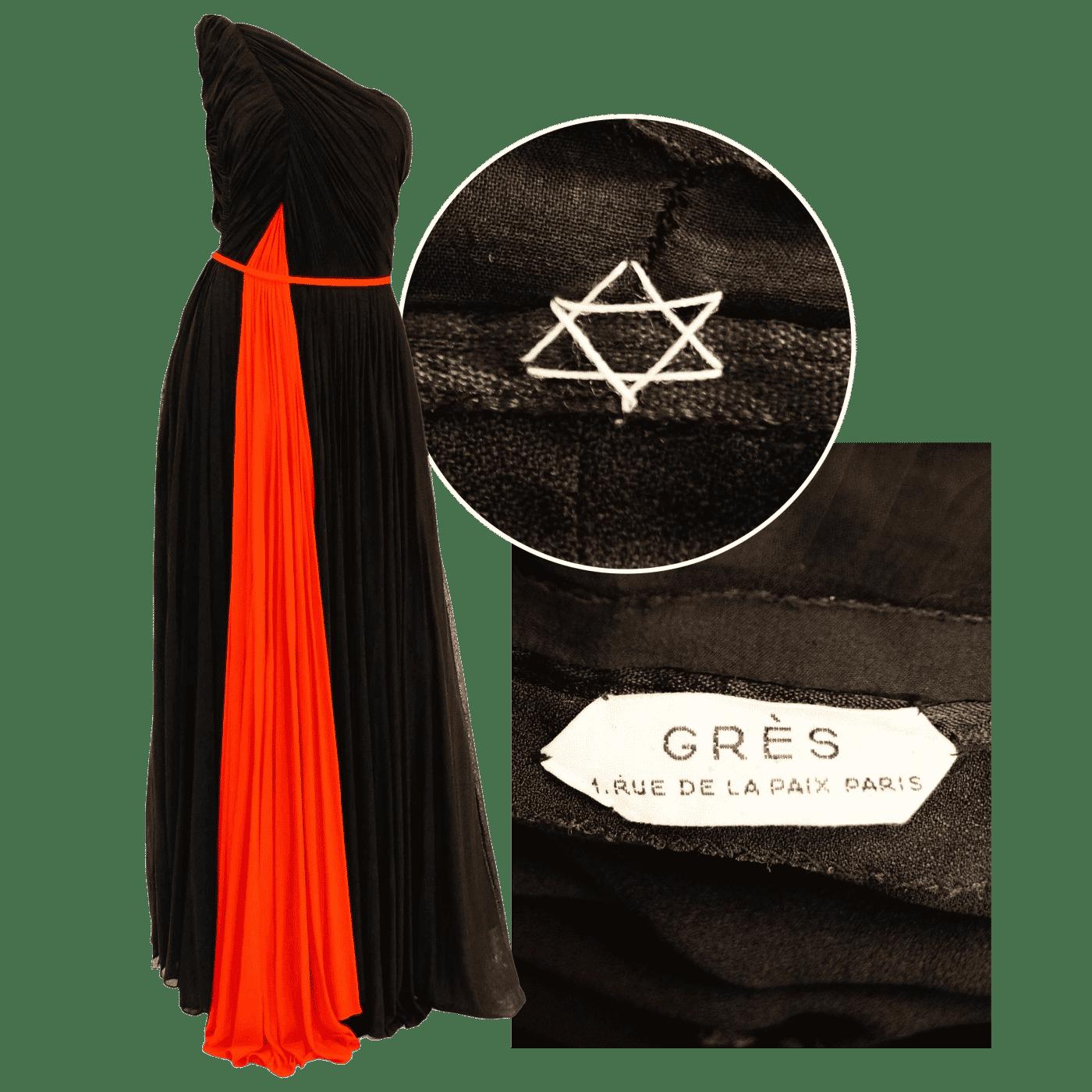 World Warr II-era Madame Grès gown with Star of David emblem sewn inside