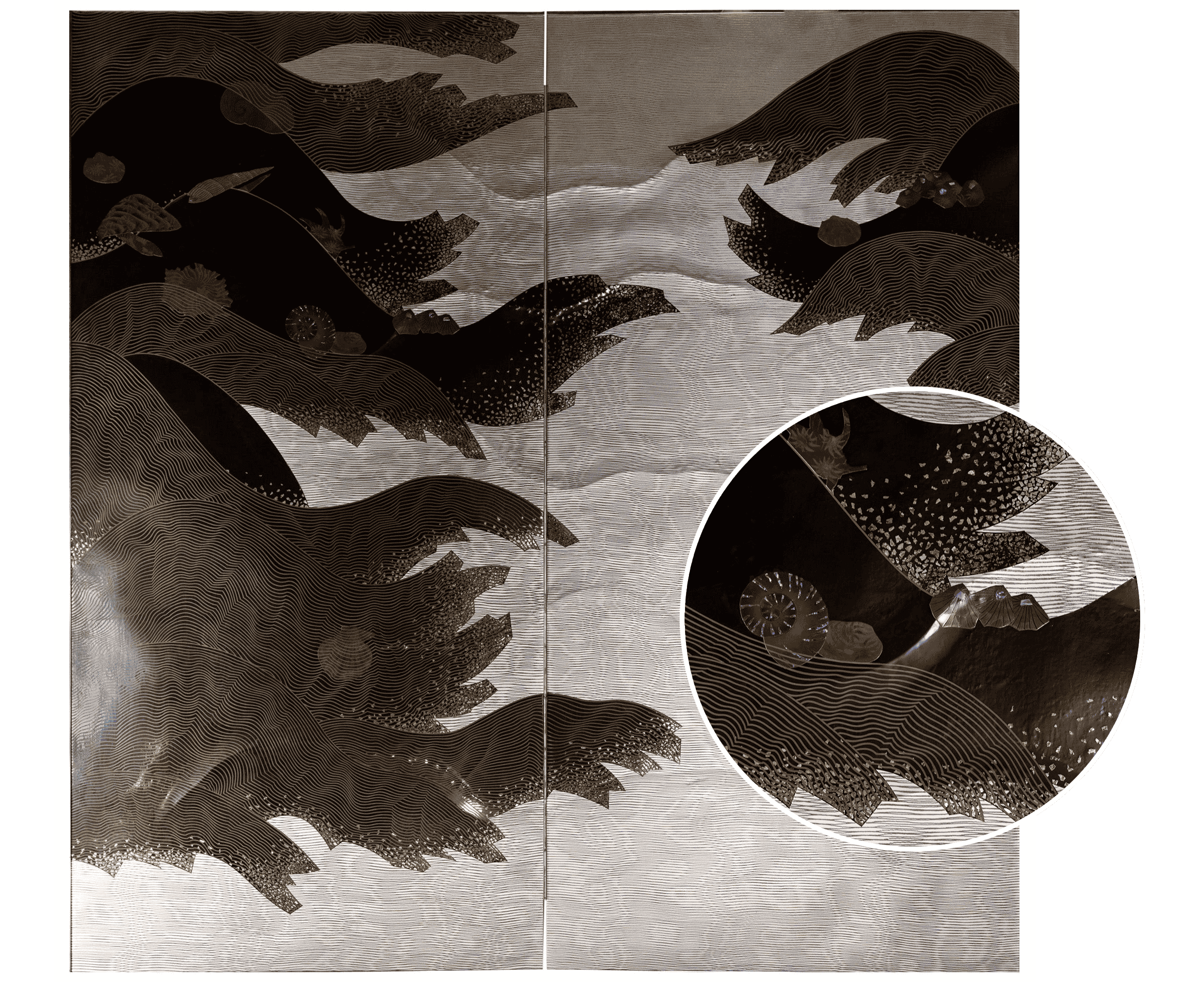 Japanese Two Panel Lacquer Screen: under the Waves with Flowing Kelp and Seashel