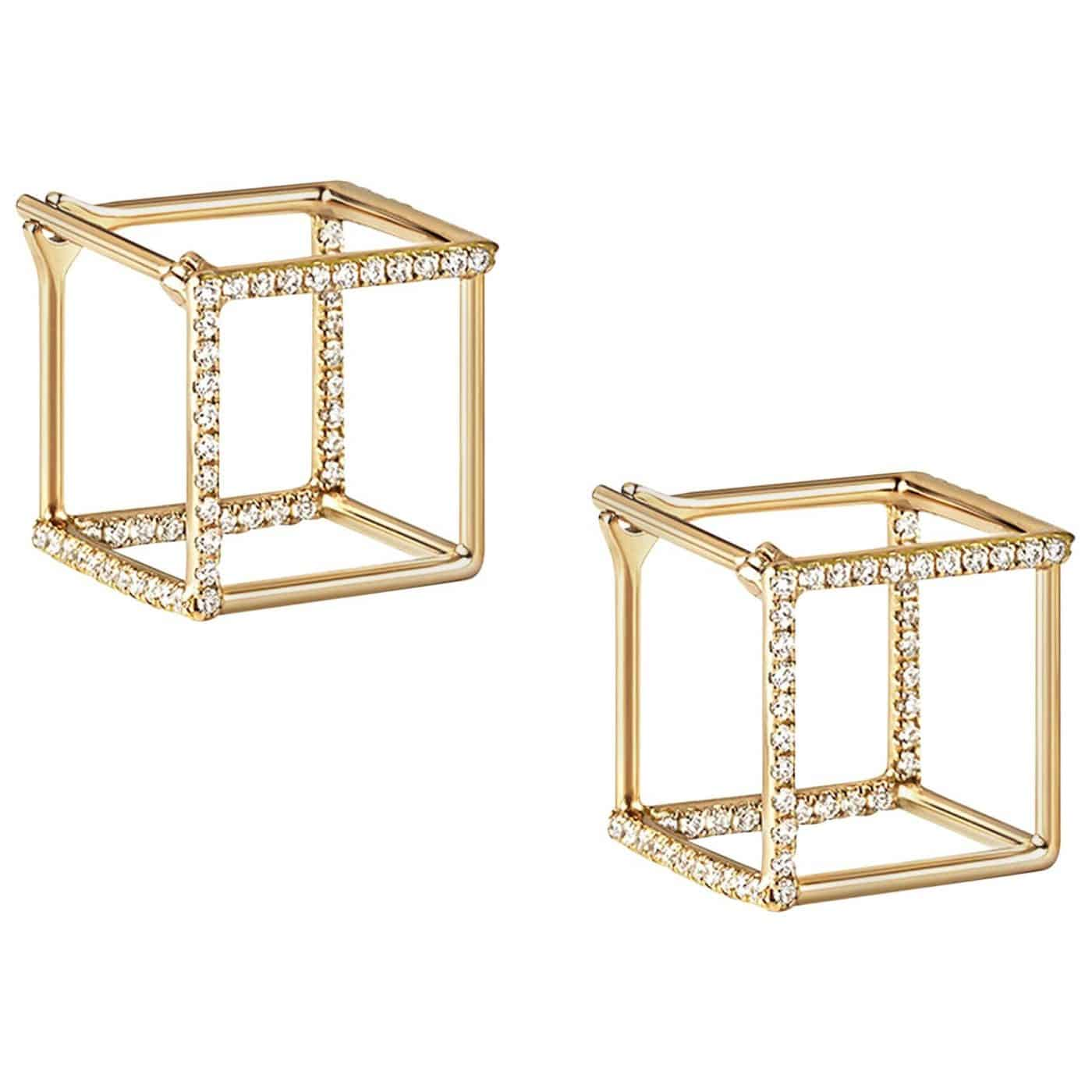 18 Karat Yellow Gold Diamond Square Pair of Earrings