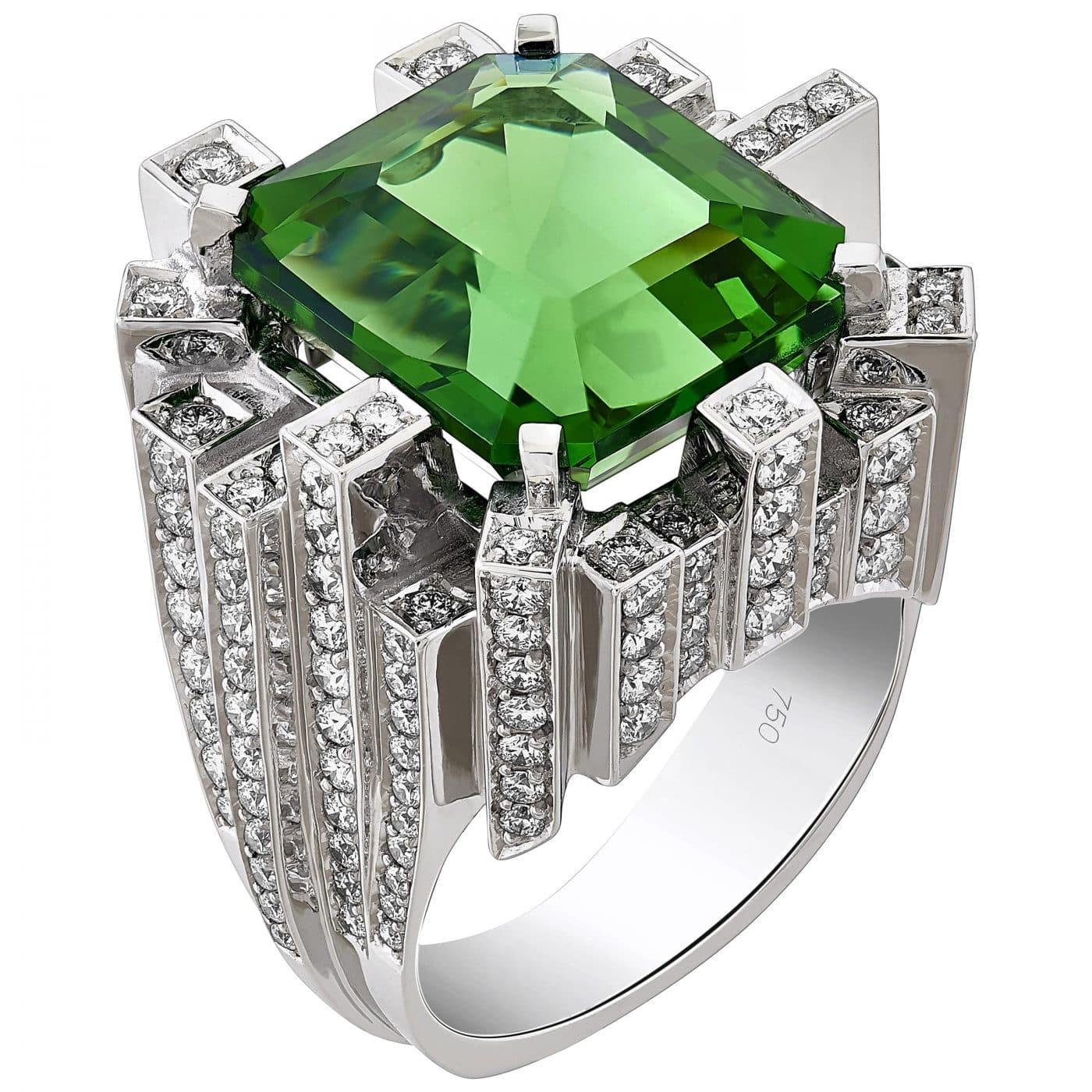 Moldavite Cocktail Ring with Diamonds in 18 Karat Gold