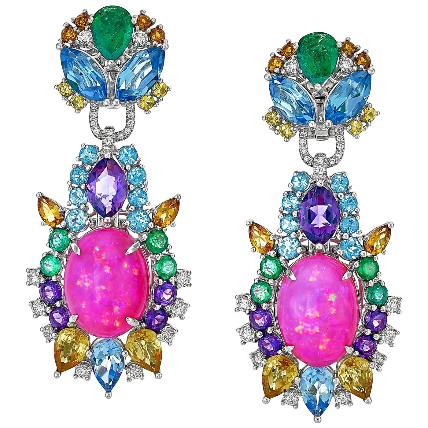 Pink Opal, Diamond, Emerald, Sapphire, Topaz and Citrine Starburst Earrings