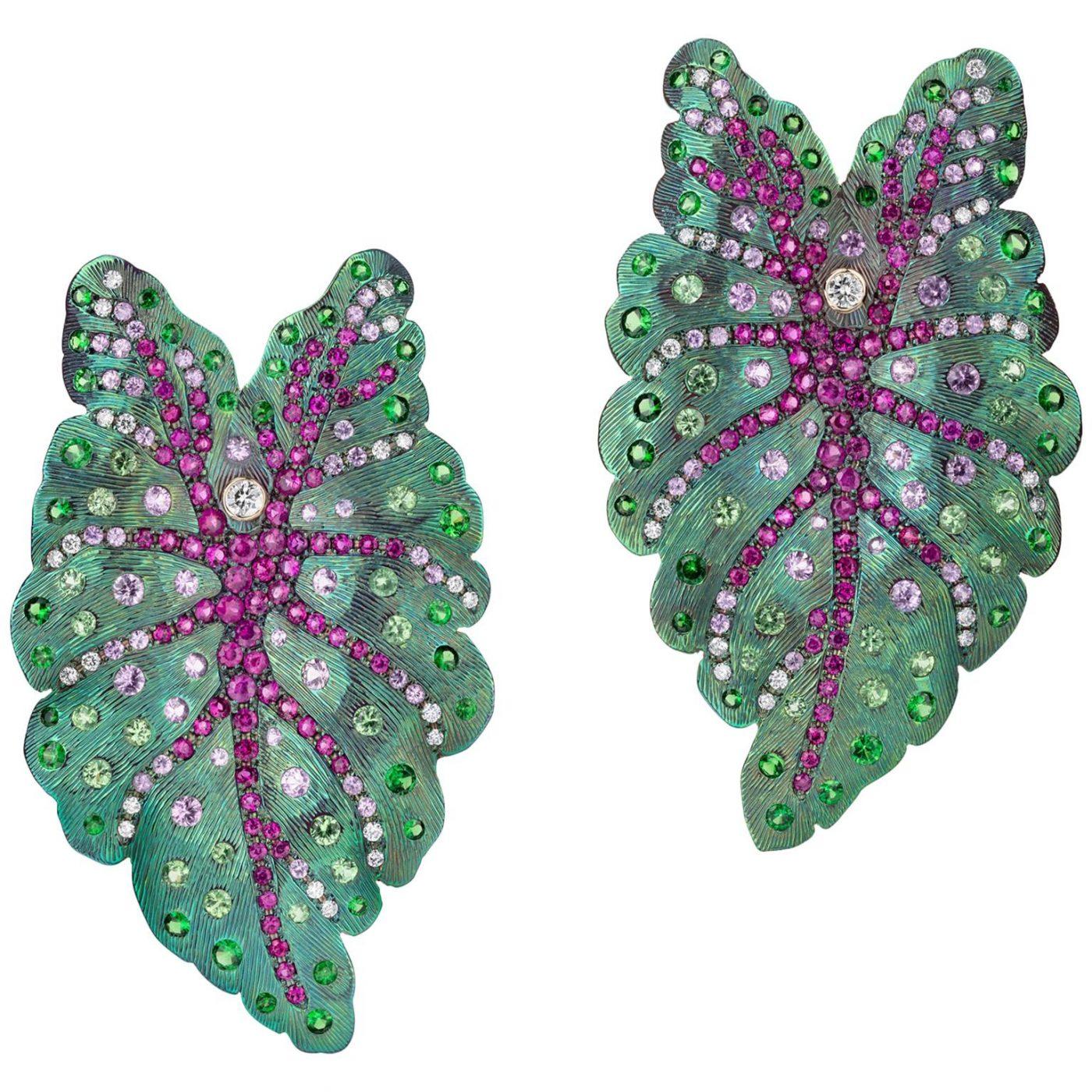 Sabbadini Contemporary Titanium Leaf Earrings