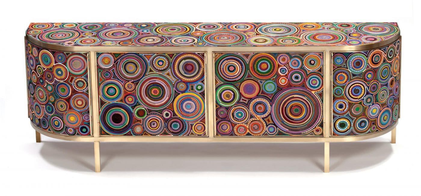 """Campana Brothers """"Sushi Buffet"""" credenza complete with colorful handcrafted rolls"""