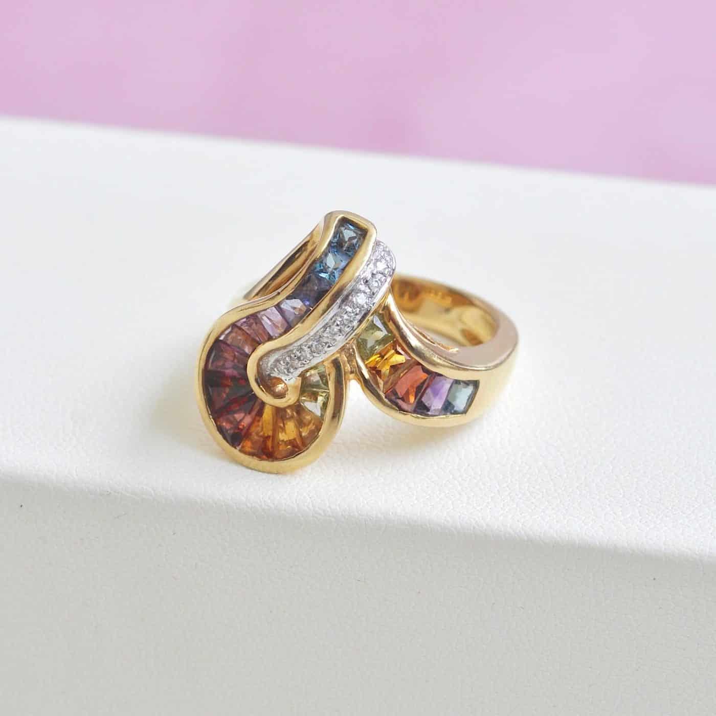 18 Karat Gold Topaz Amethyst Garnet Citrine Peridot Iolite Diamond Rainbow Ring