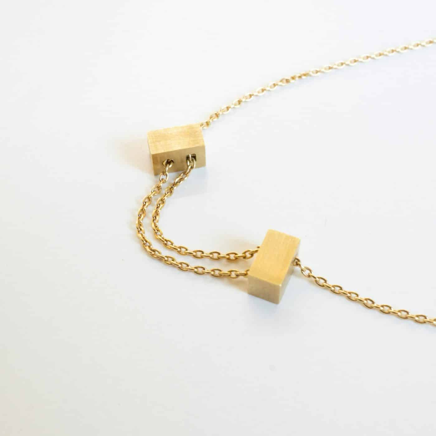 18 Karat Yellow Gold Adjustable Cube Necklace