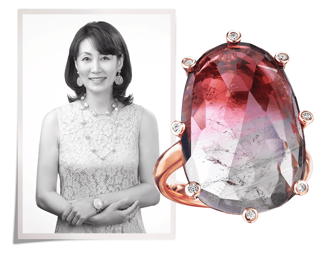 Black and white portrait of Joon Han next to a cocktail ring of her own design