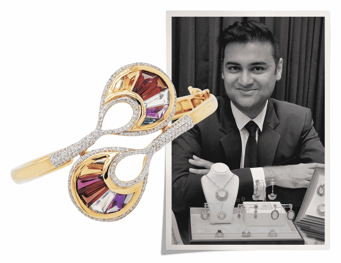 Black and white portrait of Vaibhav Dhadda with a diamond cocktail bracelet of his design