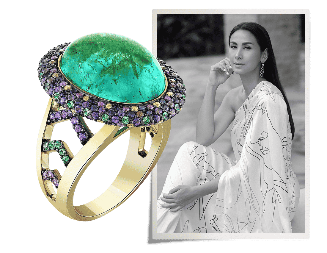 Black and white portrait of Emi Stames next to a bejeweled cocktail ring of her design