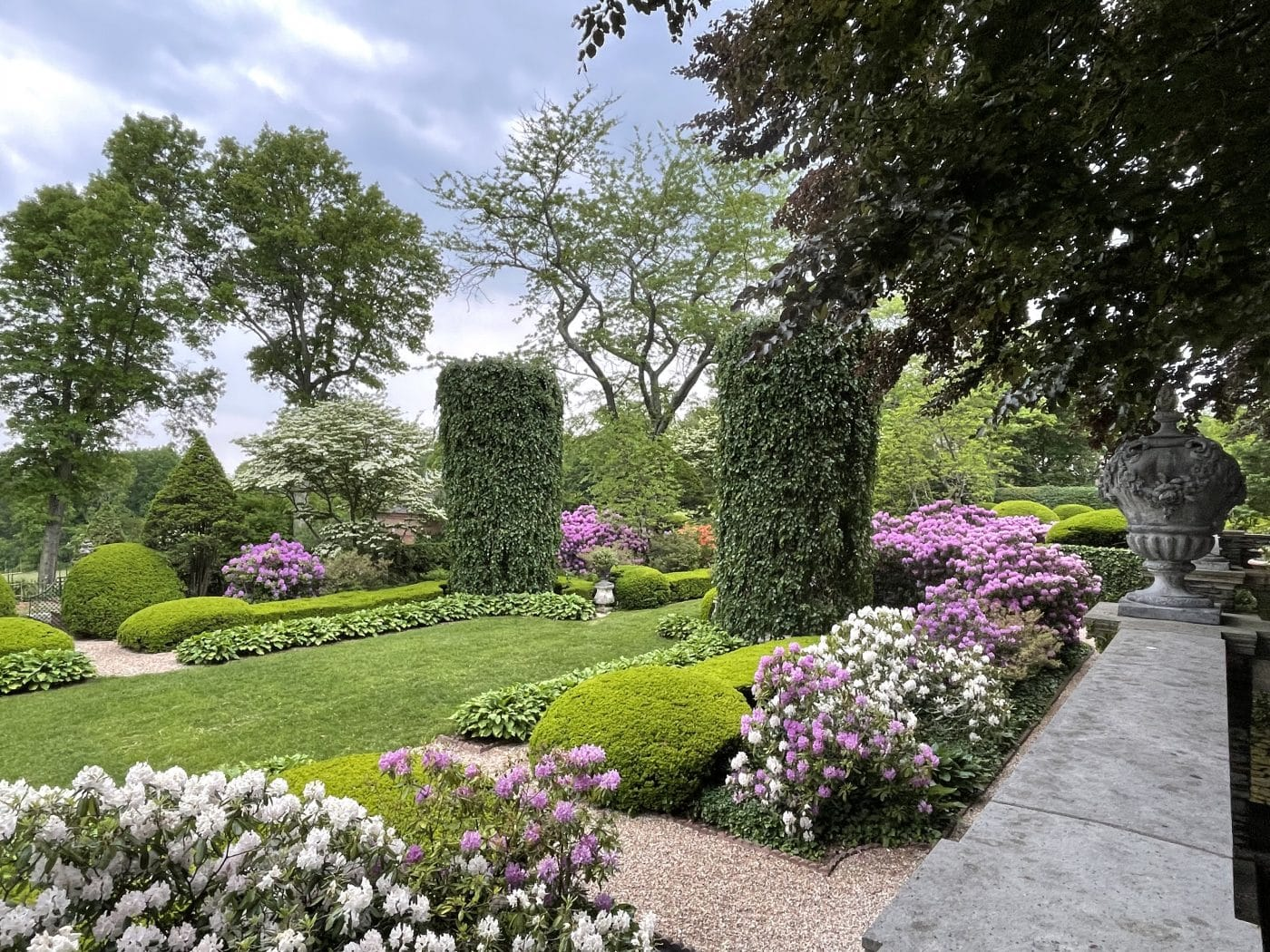 Wethersfield garden with rhododendrons