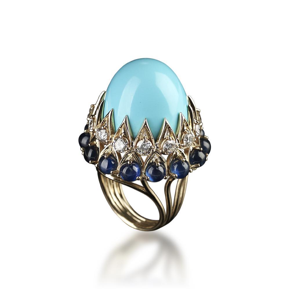 Veschetti Persian Turquoise, Sapphire and Diamond Cocktail Ring