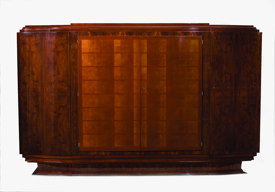 Jules Leleu Large Lacquered Walnut Cabinet