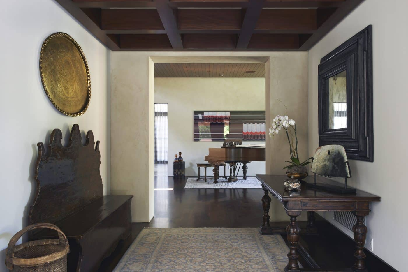 Front entryway of a house in the Pacific Palisades, interior designed by Coulter