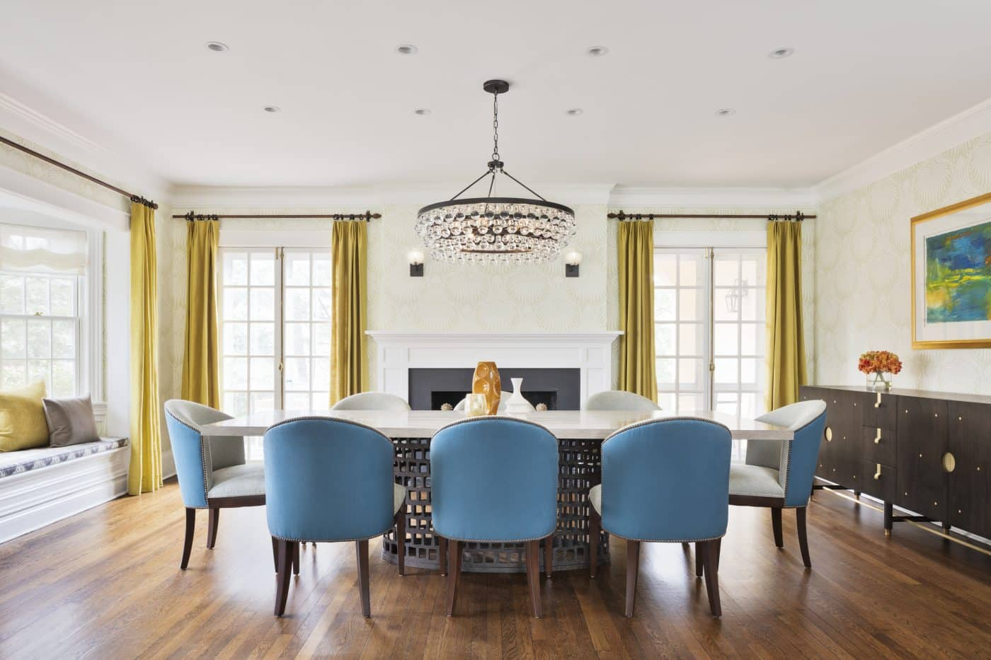 The dining room of a Greenwich, Connecticut house with interiors by Danielle Fennoy of Revamp Interior Design