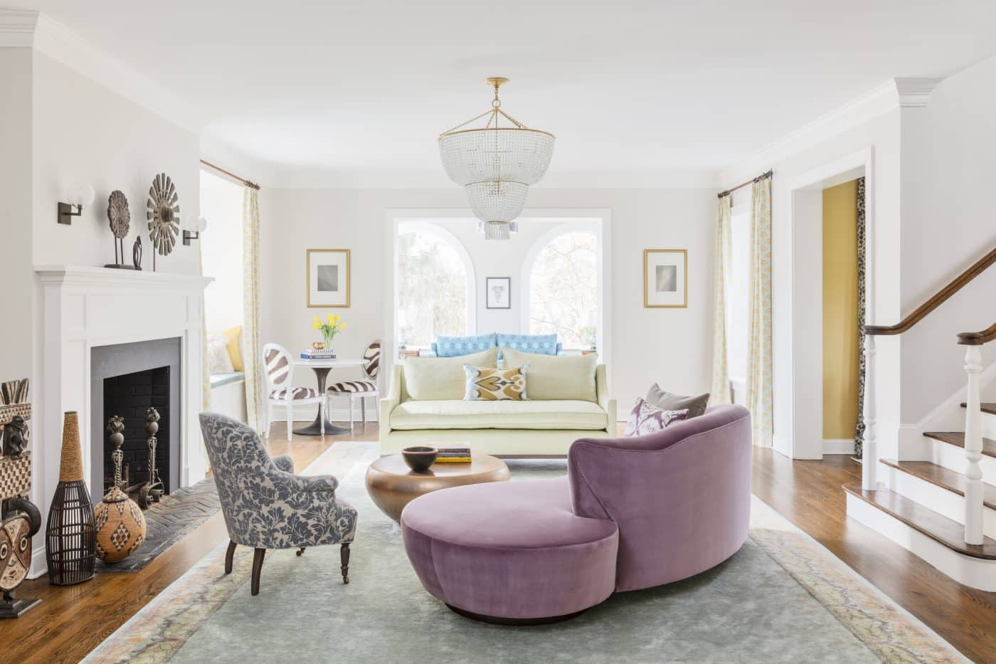 The living room of a Greenwich, Connecticut house with interiors by Danielle Fennoy of Revamp Interior Design