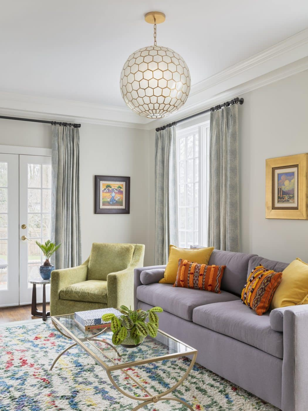 The family room of a Greenwich, Connecticut house with interiors by Danielle Fennoy of Revamp Interior Design