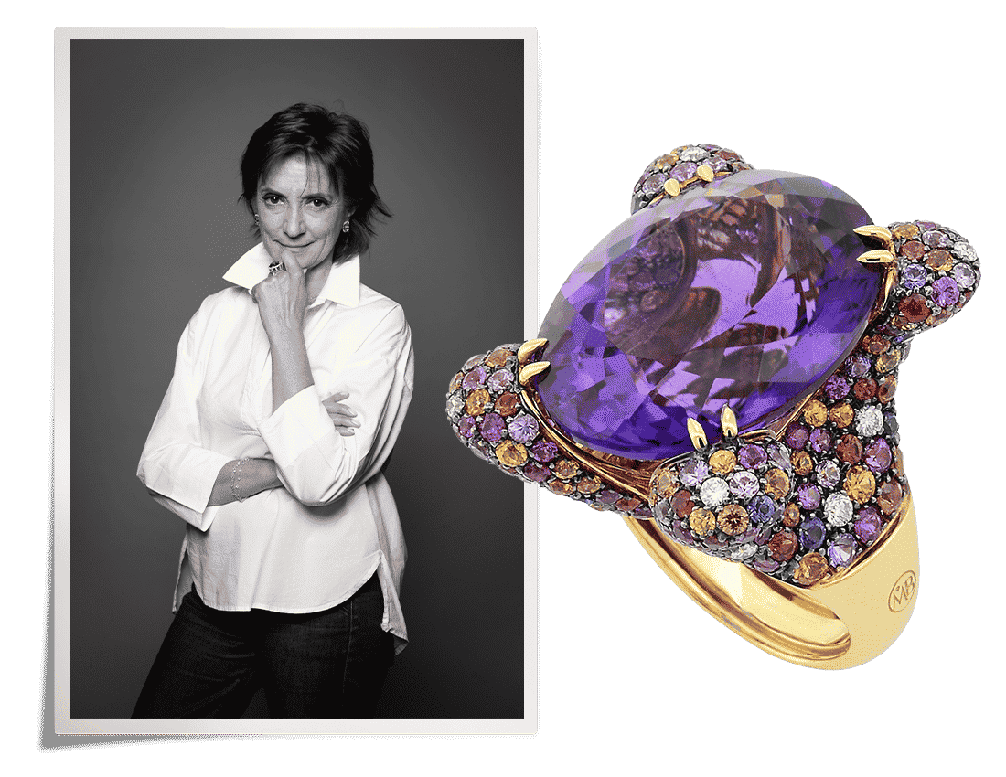 black and white portrait of Margherita Burgener next to a purple statement ring from her brand