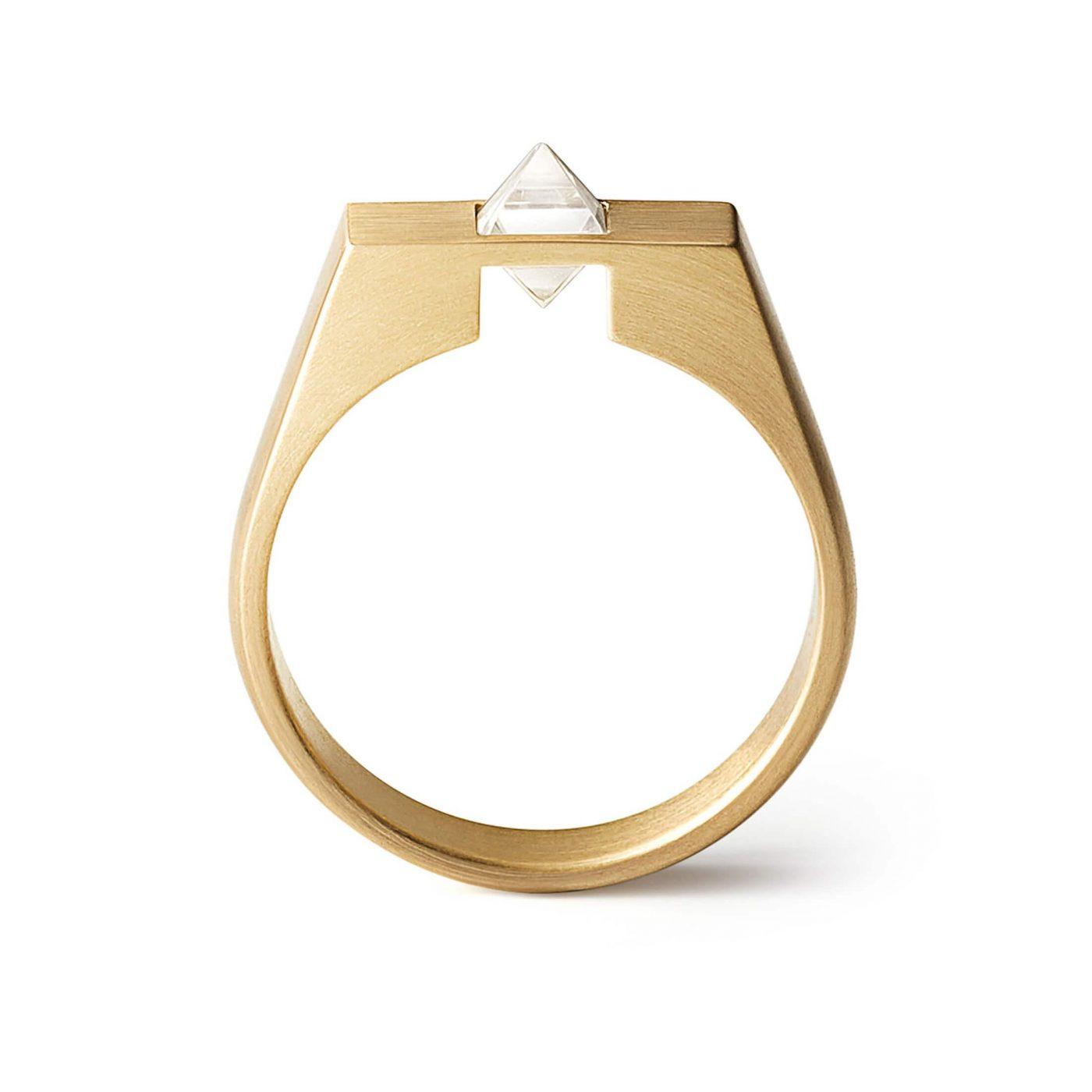 18 Karat Yellow Gold Natural Octahedron Rough Diamond Un-Signet Ring