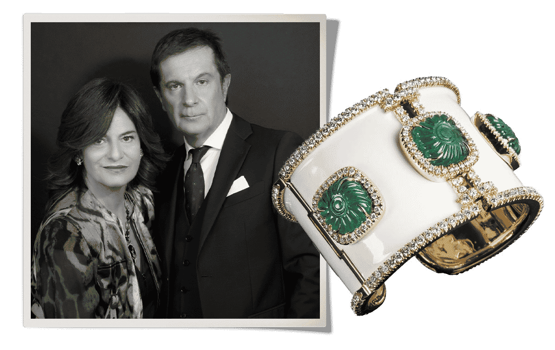 Black and white brother and sister portrait of Laura and Marco Veschetti next to emerald and diamond cuff bracelet from the Veschetti brand