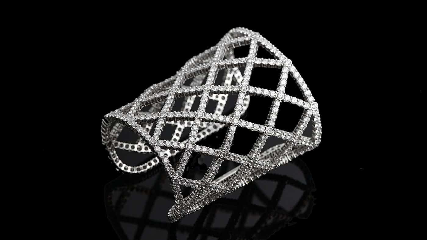 Boucheron Diamond White Gold Cuff Bracelet