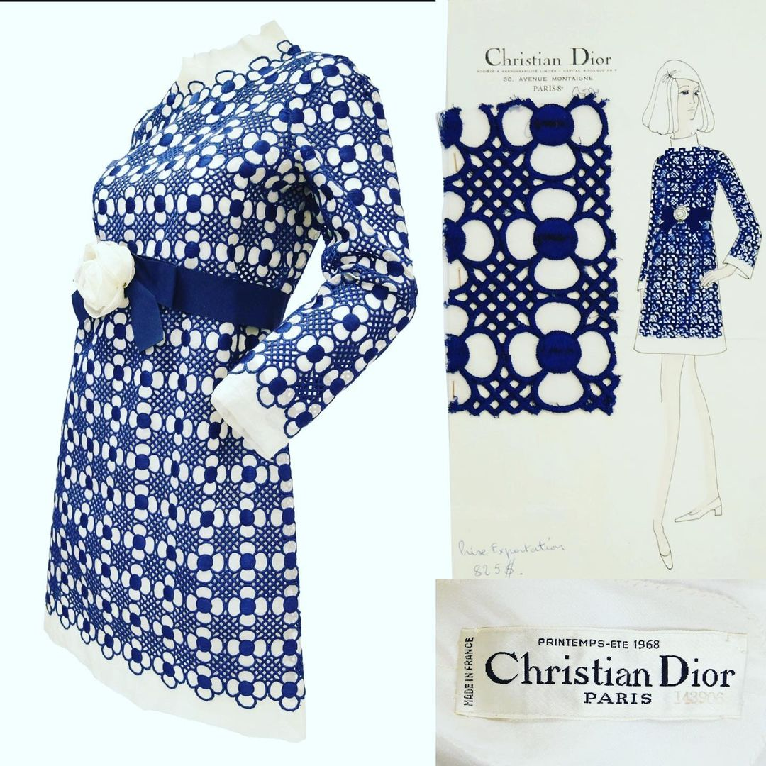Christian Dior dress with blue lattice-lace flowers designed by Marc Bohan