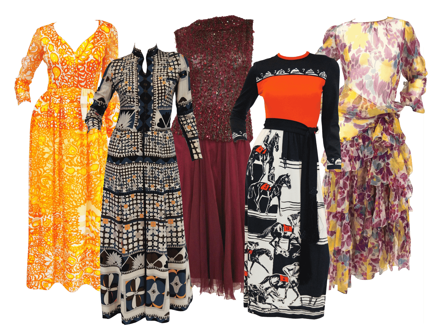 Collage of MRS Couture inventory, featuring gowns from Christian Dior, Averardo Bessi, Yves Saint Laurent, Gene Berk and Oscar de la Renta