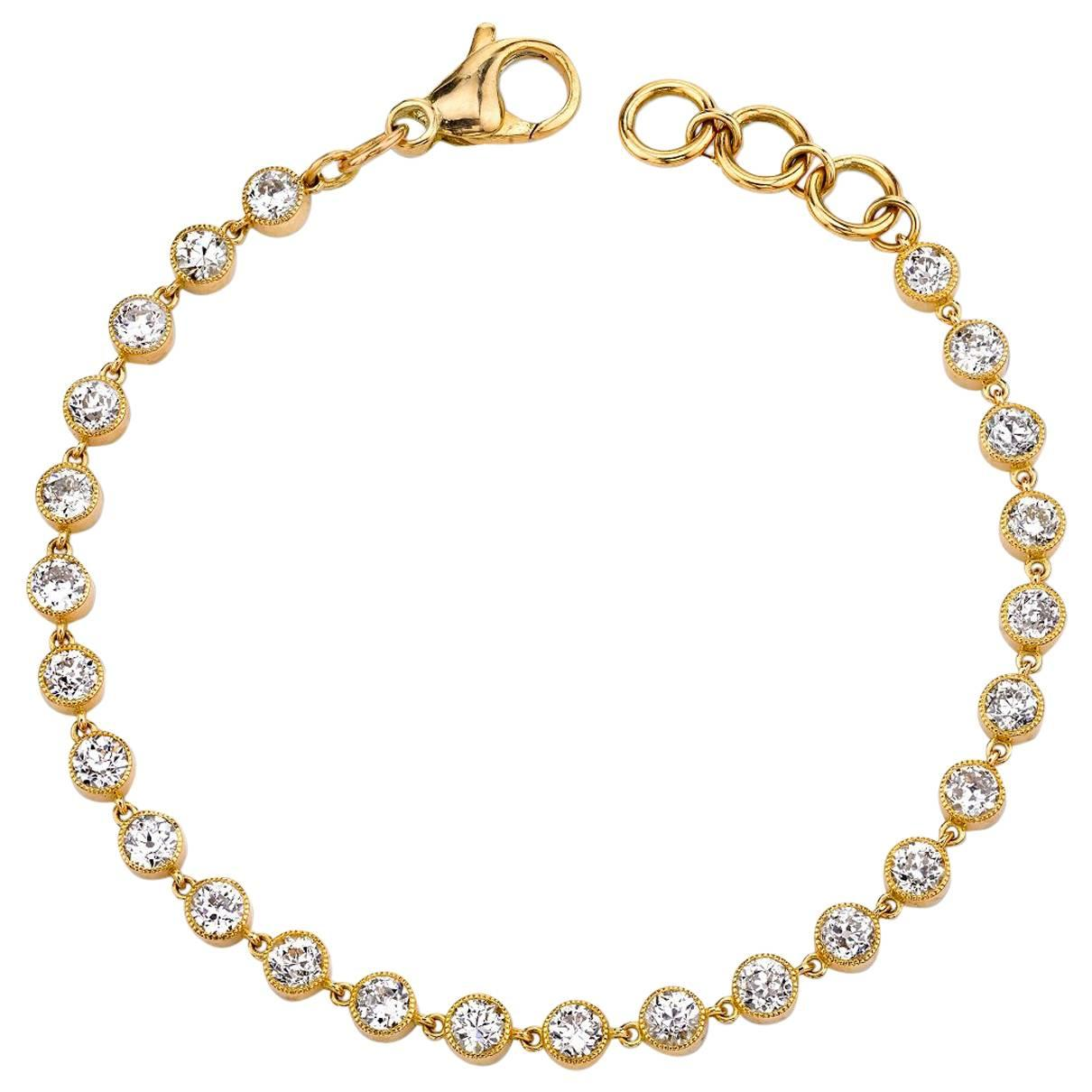Handcrafted Gabby Old European Cut Diamond Tennis Bracelet by Single Stone