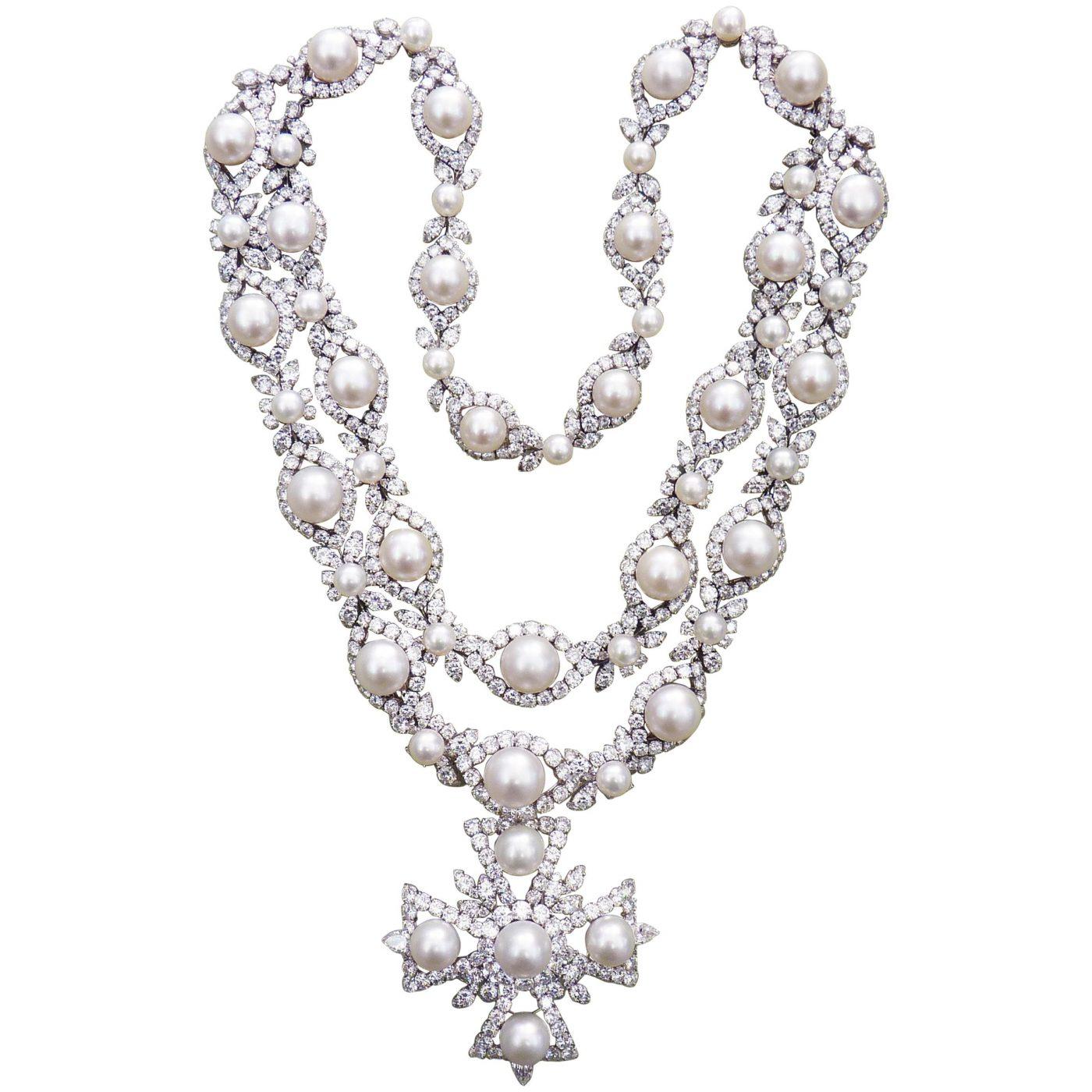 Van Cleef & Arpels Diamond Pearl Cross Necklace in Platinum