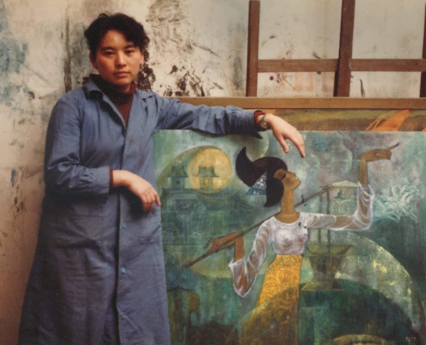 Hung Liu as a graduate student at the Central Academy of Fine Arts in Beijing, 1980.