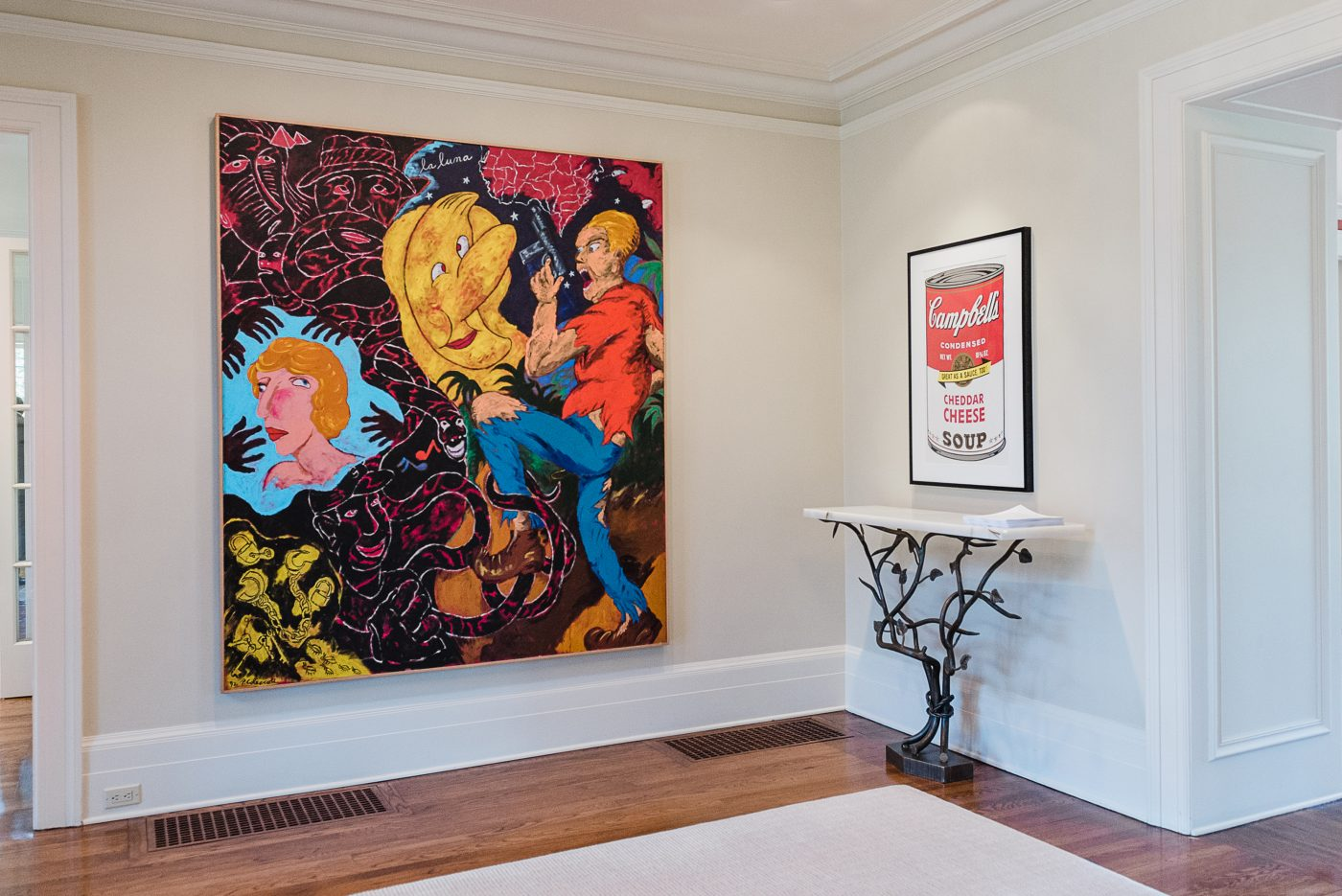 Jordan Schnitzer's home in Portland, Oregon: Campbell's Soup II: Cheddar Cheese, 1969, by Andy Warhol and La Luna (That Old Devil Moon), 1992