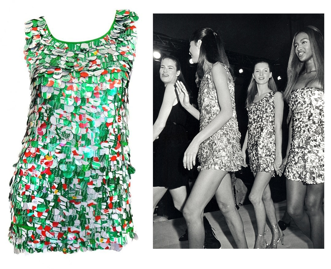 Left: An unusual piece Rosenberg sold through 1stDibs was a 1994 Isaac Mizrahi dress covered with paillettes made from Diet 7-Up cans. Right: A group of models, including Kate Moss and Naomi Campbell, wear Mizrahi's aluminum-can dresses.