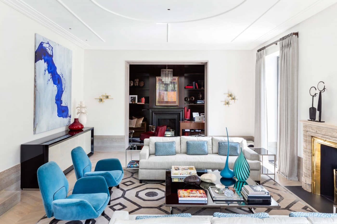 Living room in a London home designed by Carden Cunietti