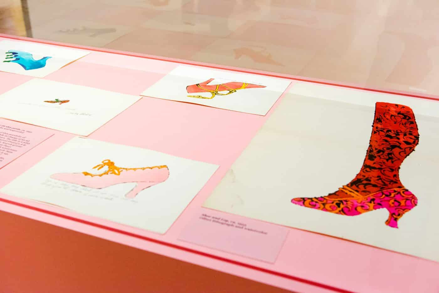 """Andy Warhol's 1950s shoe drawings in """"Andy Warhol: Prints from the Collections of Jordan D. Schnitzer and His Family Foundation"""" at the Palm Sprigs Museum of Art."""