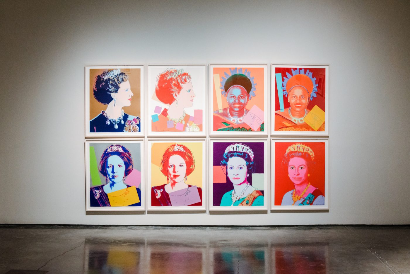 """Andy Warhol's """"Reigning Queens"""" series, 1985, in the 2018 show """"Andy Warhol: Prints from the Collections of Jordan D. Schnitzer and His Family Foundation"""" at the Palm Sprigs Museum of Art."""