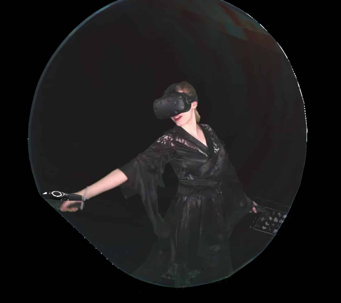 """Image of """"Portals"""" artist Rosie Summers makes self-portrait–like clips of herself creating art in virtual reality"""