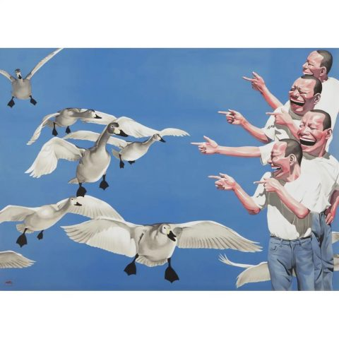 <i>Big Swans<i>, 2009, by Yue Minjun, offered by Weng Contemporary (ArtXX AG)