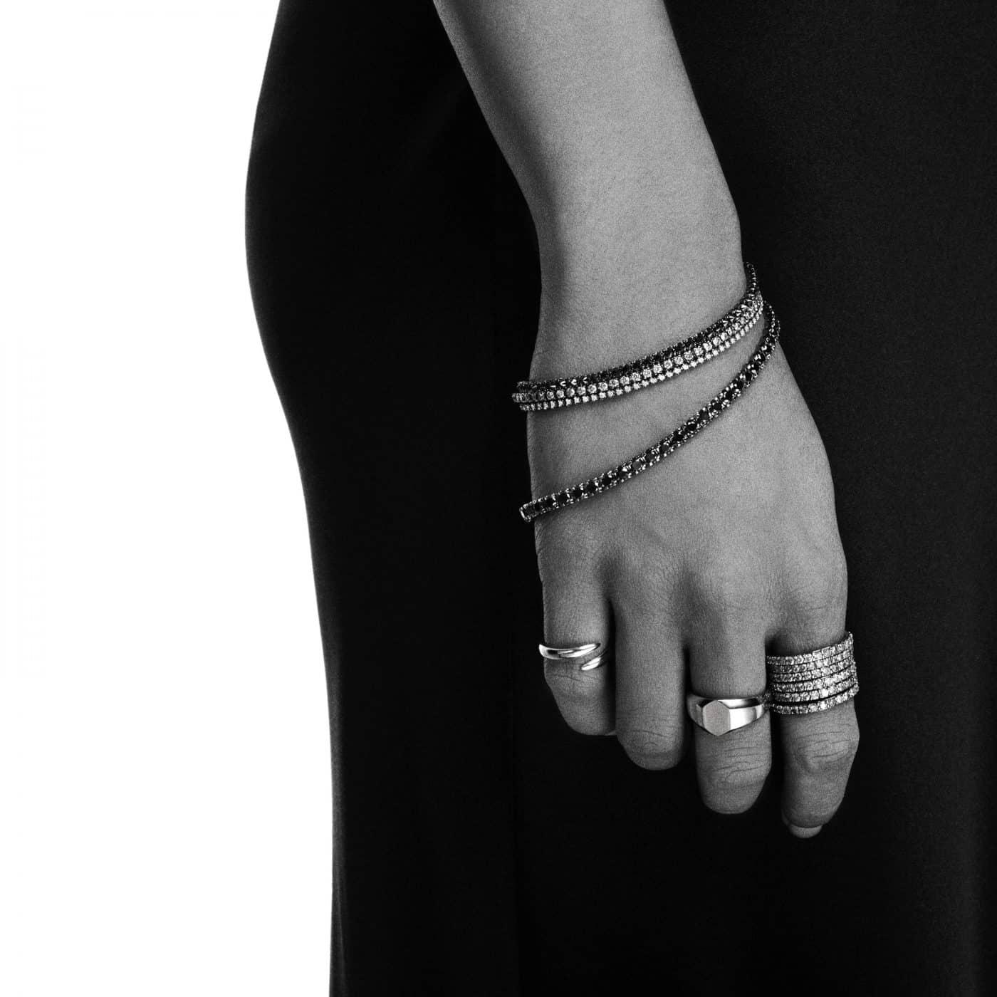 Eva Fehren Line Bracelet 18k Blackened White Gold with Black and White Diamonds