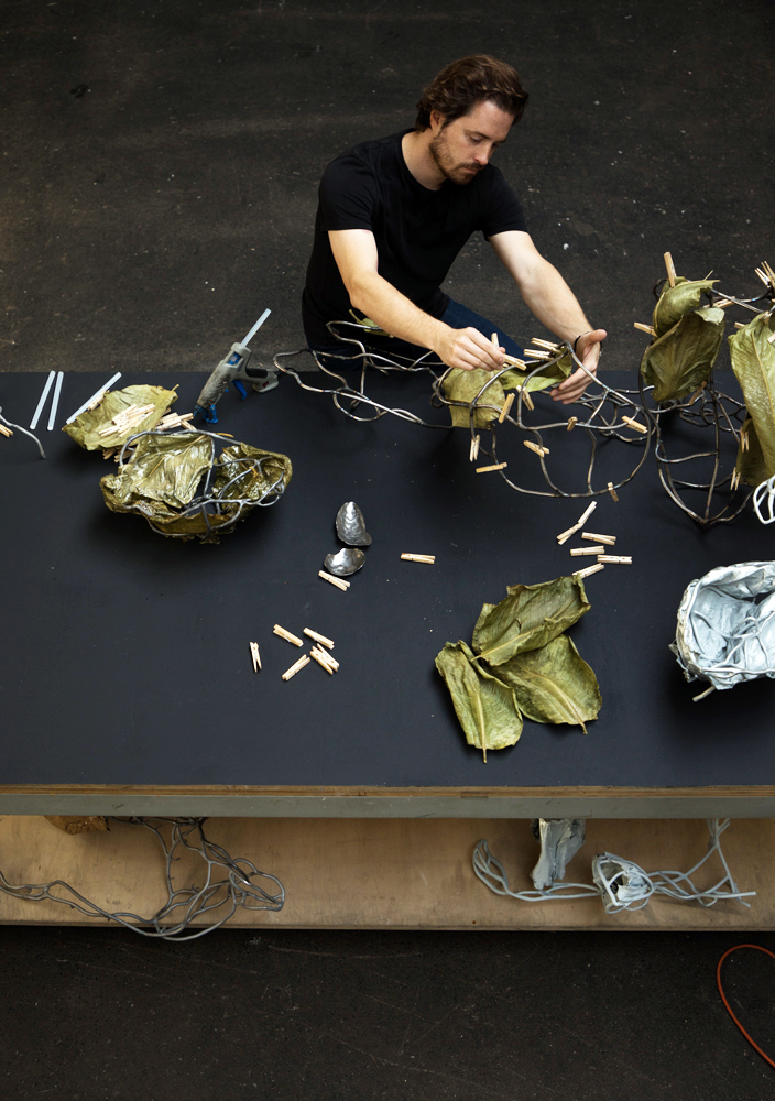Marcin Rusak coats leaves with zinc to create lamps like PROTOPLASTING NATURE 03