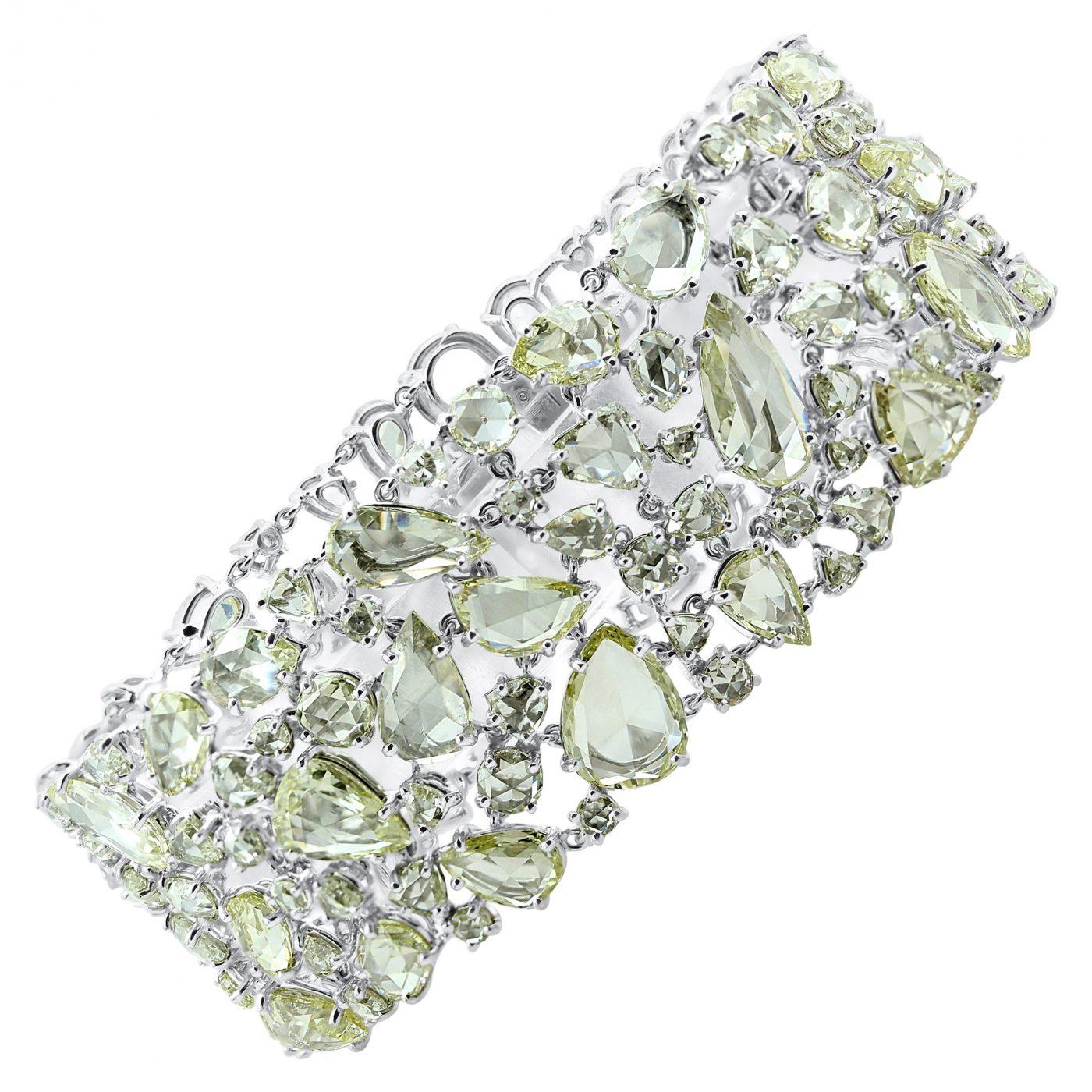 An Oscar Heyman Platinum Rose Cut Diamond Wide Bracelet