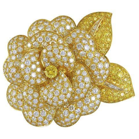yellow diamond brooch