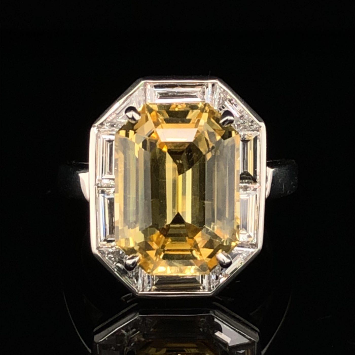 Oscar Heyman 9.01ct Unheated Ceylon Yellow Sapphire & Diamond Frame Ring