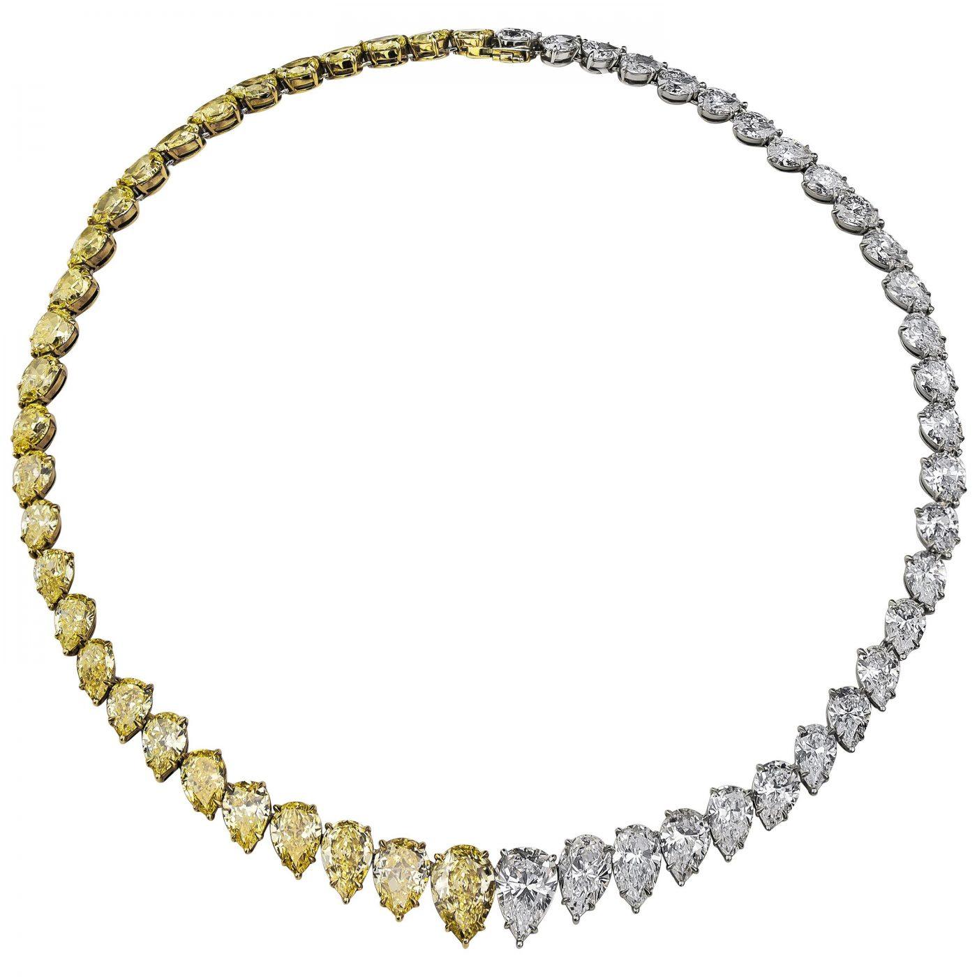 Roman Malakov 61.96 Carat Graduating Yellow and White Diamond Rivière Necklace