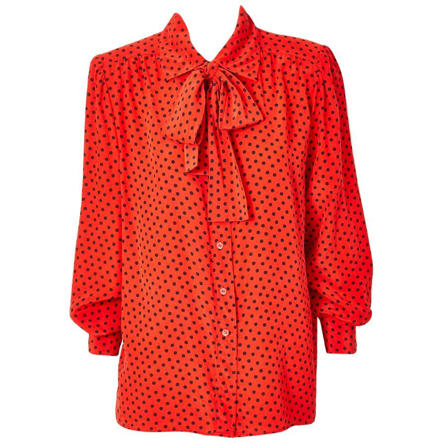 Yves Saint Laurent silk polka-dot lavaliere blouse