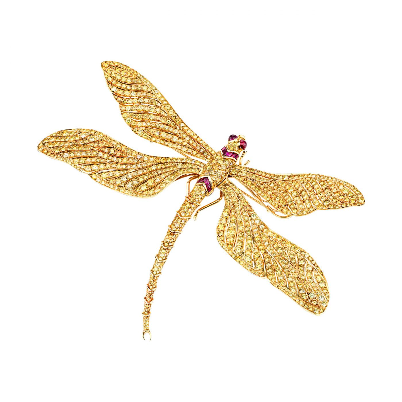 Fred Leighton yellow diamond dragonfly brooch