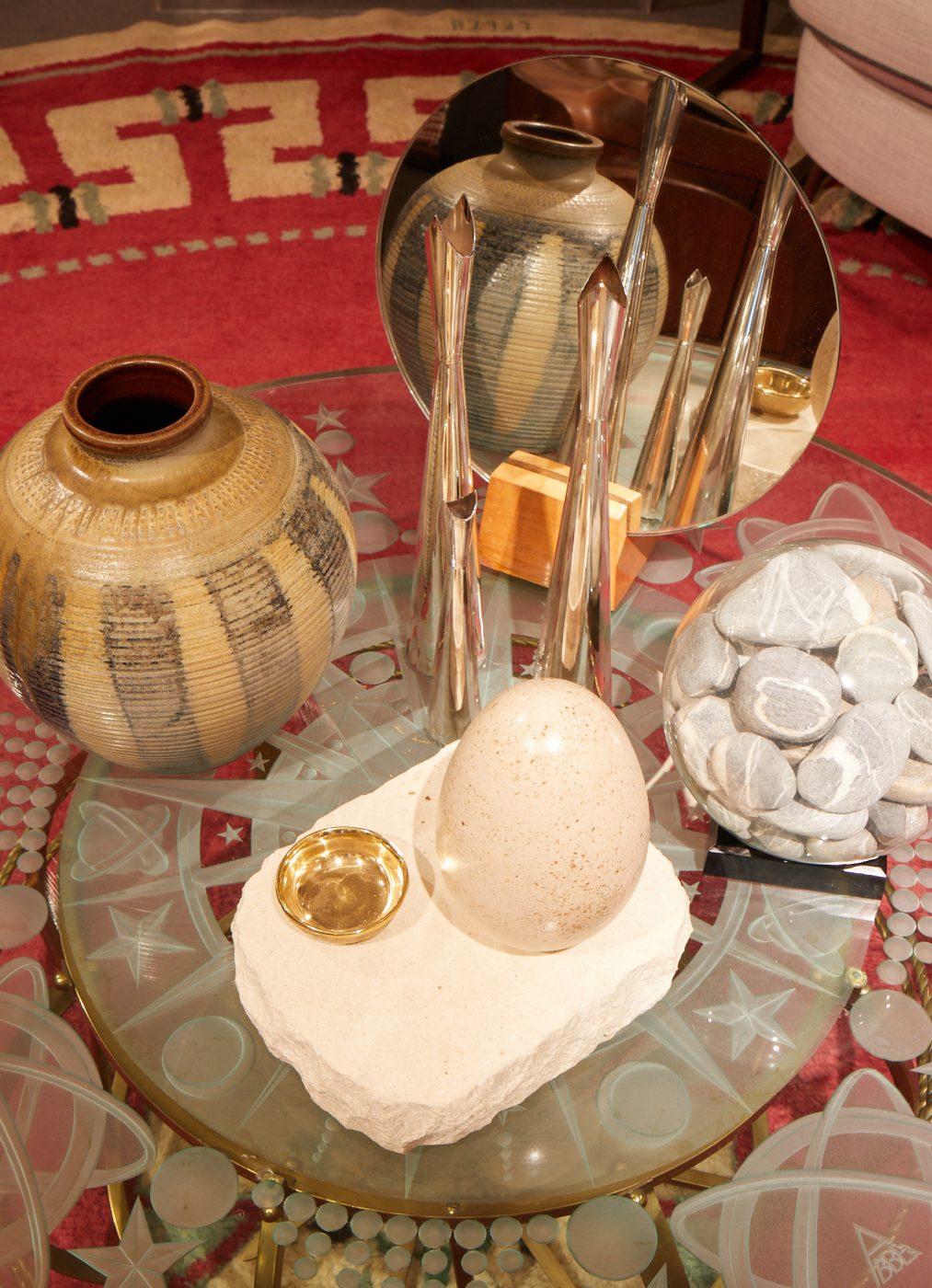 Close up of ceramics and other mixed media artwork